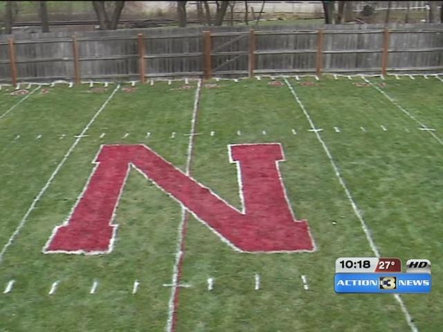 brothers recreate huskers field in backyard