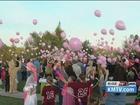 Dozens of balloons released for Speer family
