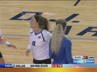 Creighton libero takes shot to eye