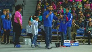 Athletes speak to elementary school kids