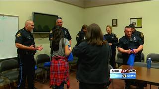 Girl, 12, spreads kindness to police