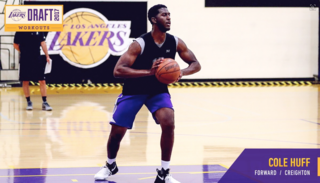 Cole Huff works out with Lakers