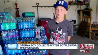 Boy collects 7,500 bottles of water for homeless