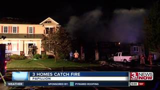 Overnight fire in Papillion damages three homes