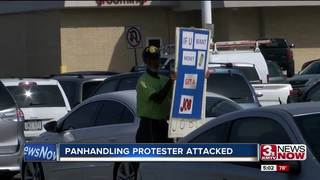 Panhandler protester assaulted again